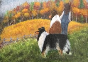 Painting of two collies in a field with a little girl for CHF Auction.