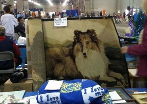 Photo of a Collie painting for CHF Auction.