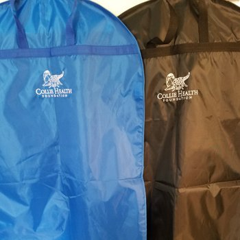 Collie Health Foundation Blue and Brown Garment Bags.