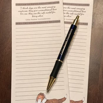 Collie Health Foundation Notepad and Pen Set.