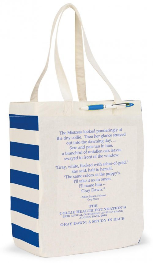 Chelsea Market Tote in Blue with text.